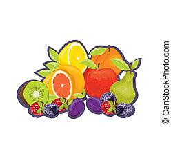 fruta, etiqueta