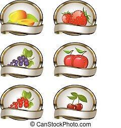 fruta, etiquetas, aguijón, colección