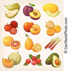 fruta exótica, jogo, coloridos