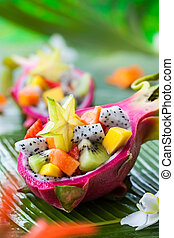 fruta exótica, salada