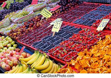 fruta, exposição, mercado