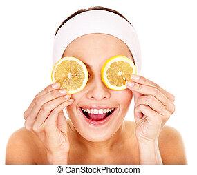 fruta, facial, casero, natural, máscaras