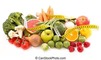 fruta, fita, vegetal, medida