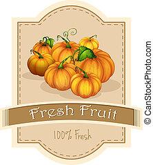 fruta fresca, abóboras, etiqueta