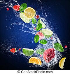 fruta fresca, com, água, respingo