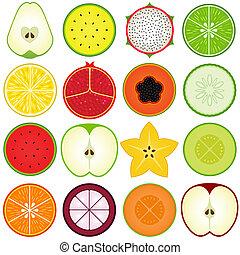 fruta fresca, corte, mitad