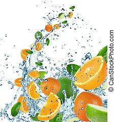 fruta fresca, em, água, respingo