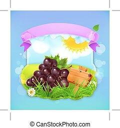 fruta fresca, etiqueta, uva