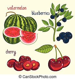 fruta fresca, mezcla, aislado, vector, ilustración