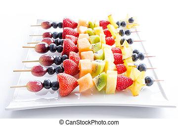 fruta fresca, porción, kebabs, colorido