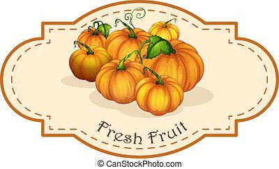 fruta fresca, squash, etiqueta
