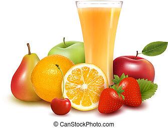 fruta fresca, y, jugo, vector