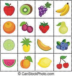 fruta, grade, cheque, azulejos, gigham