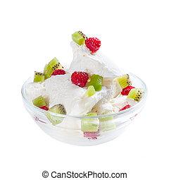 fruta, helado