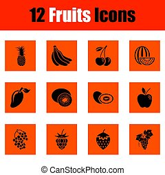 fruta, icono, conjunto