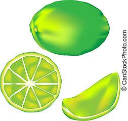 fruta, ilustração, lima