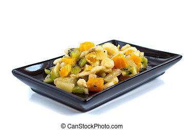 fruta, isolado, salada