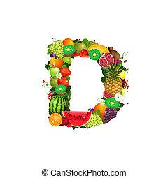 fruta, jugoso, carta, d