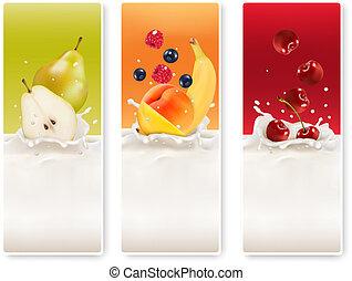 fruta, leche, tres, labels., vector.