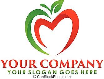 fruta, logotipo, manzana, símbolo., nutrición, naturaleza, ...