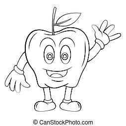 fruta, maçã, caricatura