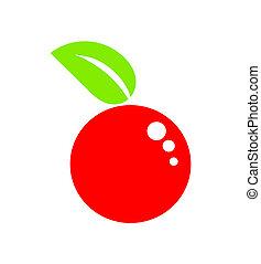 fruta, maçã, vermelho