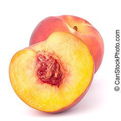 fruta, maduro, pêssego
