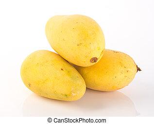 fruta, mango, plano de fondo, amarillo