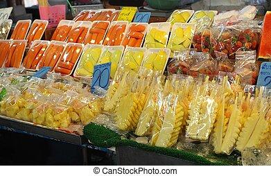 fruta, mercado noite, tailandia, krabi