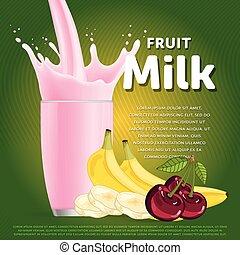 fruta, mezcla, dulce, milkshake, postre, cóctel