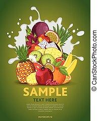 fruta, mezcla, en, leche, salpicadura