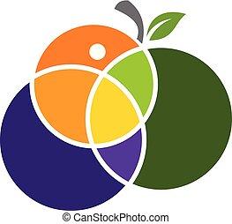 fruta, mezcla, logotipo, diseño, plantilla, vector