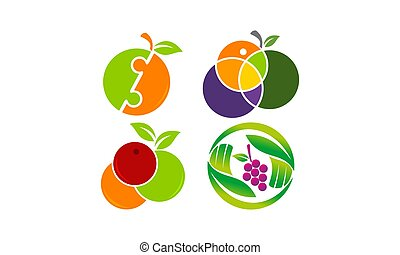 fruta, mezcla, plantilla, conjunto