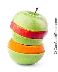 fruta mezclada, con, cintura