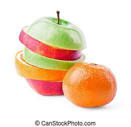 fruta mezclada, con, mandarín