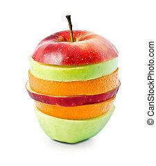 fruta mezclada, cortar