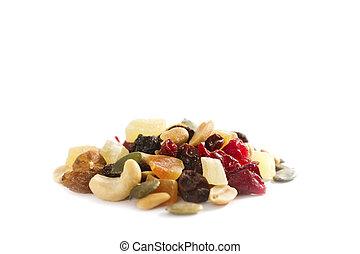 fruta mezclada, nueces, secado