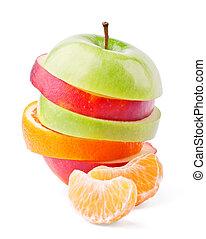 fruta mezclada, y, mandaring, segmentos