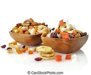 fruta, mezclado, semillas, nueces, secado