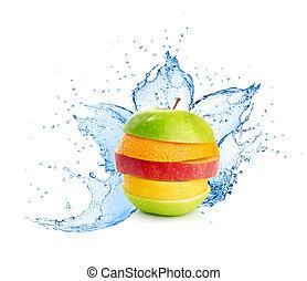 fruta, mistura, em, água, respingo