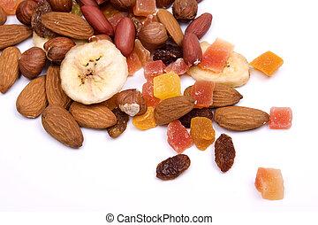 fruta, nozes, secado