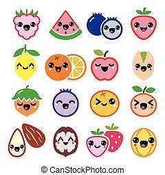 fruta, nueces, lindo, characte, kawaii