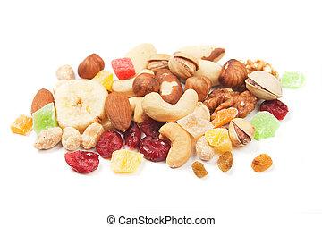 fruta, nueces, secado