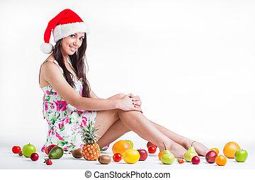 fruta, para, navidad