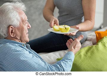 fruta, para, sobremesa