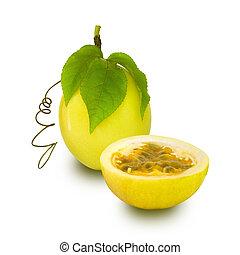 fruta, pasión, aislado