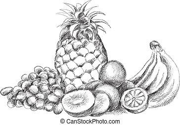 fruta, pedaço