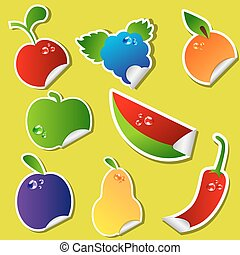 fruta, pegatina, conjunto