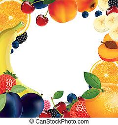 fruta, plano de fondo, vector