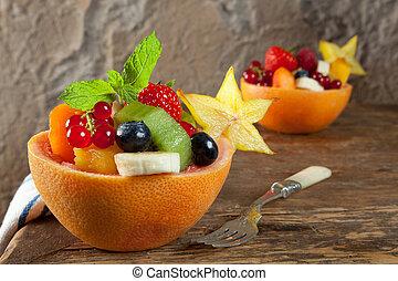 fruta, porciones, ensalada